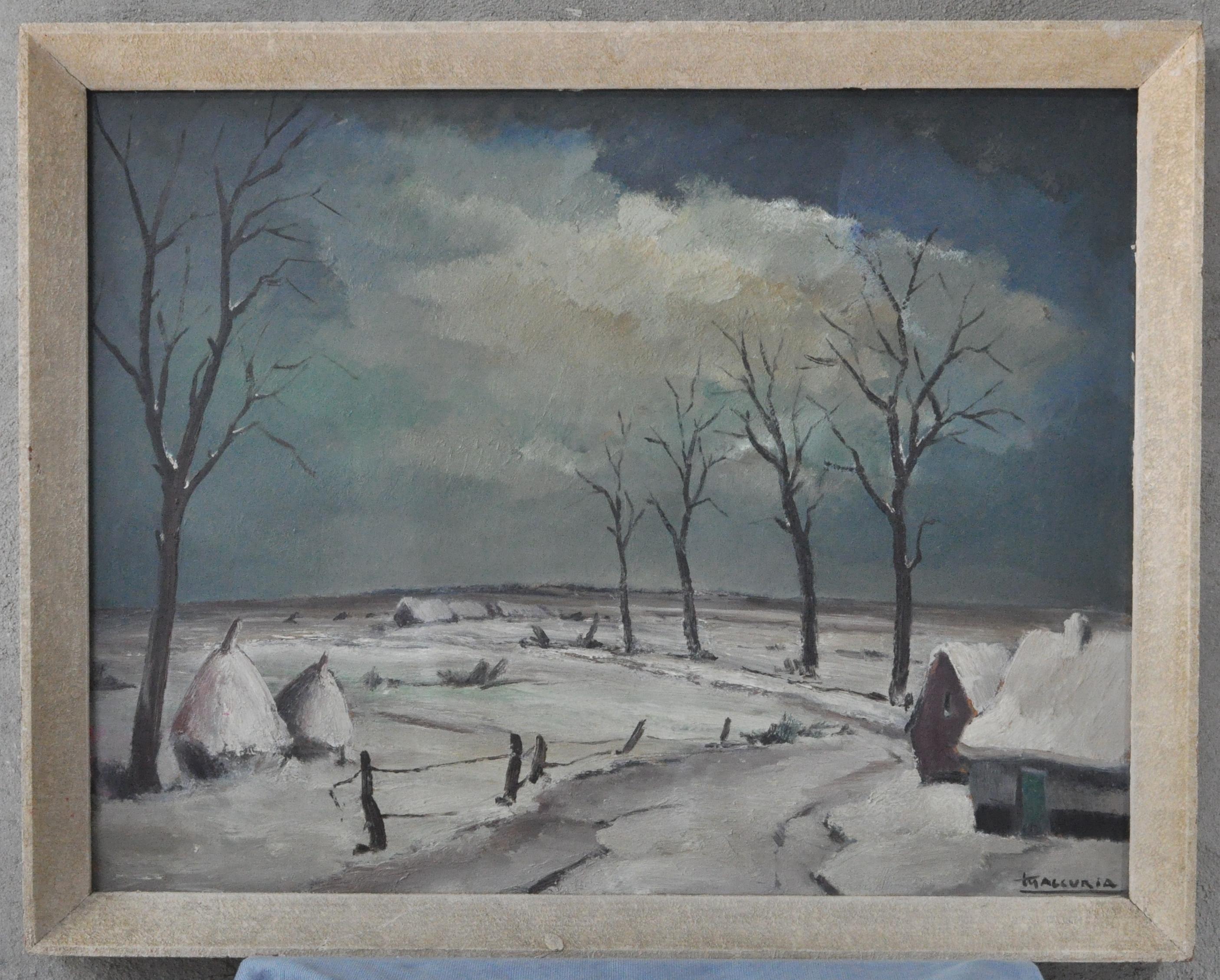 Winters landschap met hoeves en hooimijten olieverf op for Schilderij zeezicht