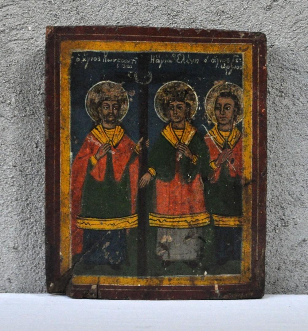 """""""St. Georgios en twee andere heiligen"""". Griekse icoon. XIXde eeuw."""