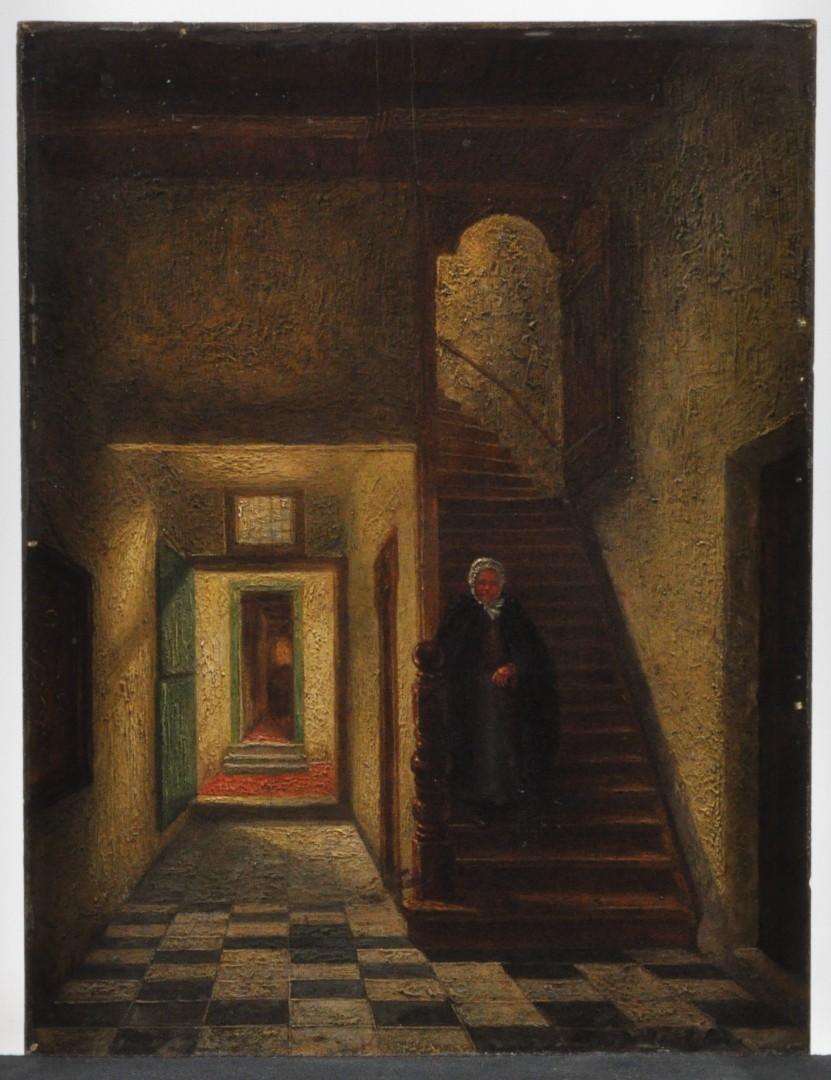 Oude dame op trap olieverf op paneel gesigneerd jordaens n v veilinghuis - Schilderij trap ...
