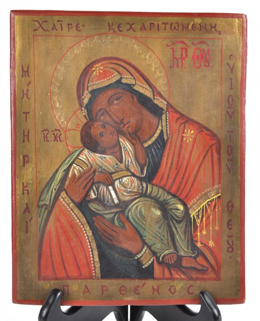 Griekse icoon met Maria, Chaire Kecharitomene Partenos.