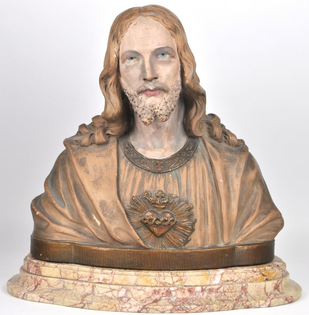 Een buste van het heilig hart in terracotta op een sokkel van roze marmer belgisch werk - Terracotta sokkel ...