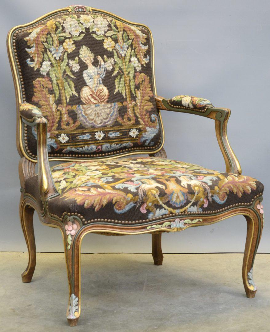 Een fauteuil la reine van verguld en gepolychromeerd hout in lodewijk xv stijl bekleed met - Garderobe stijl van lodewijk xv ...