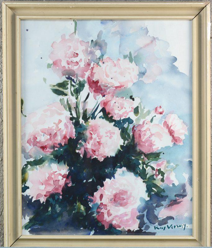 """""""Stilleven met rozen"""". Handtekening 'Verwey'."""