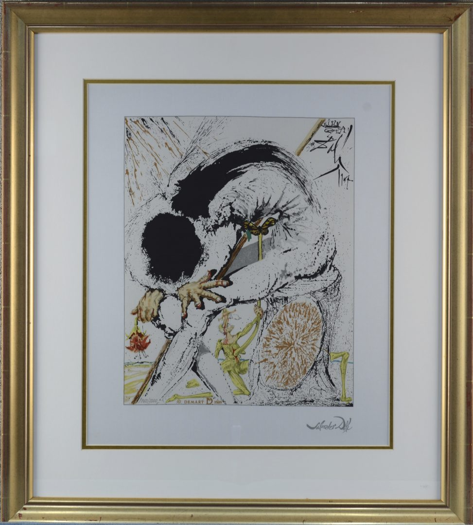 """""""Dulcinée"""".  Een zeefdruk op zijde gesigneerd S. Dali. Certificaat op de achterzijde."""