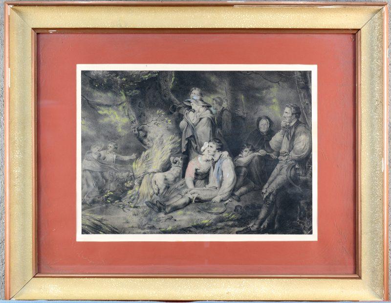 """""""Pastorale scène"""". Gravure. XIXde eeuw."""