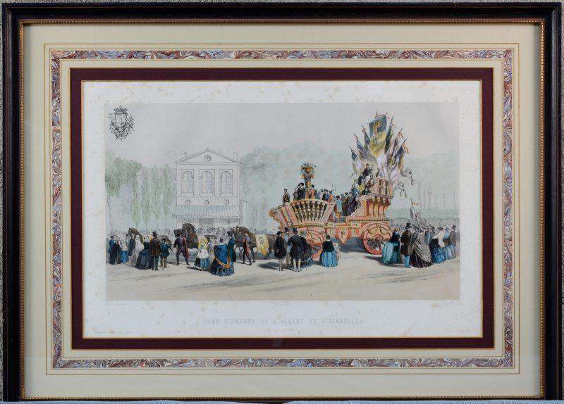 ' Char d'Anvers du d'Albert et d'Isabelle. 21 juillet 1856'.   Een Chromolitho uit de XIX de eeuw