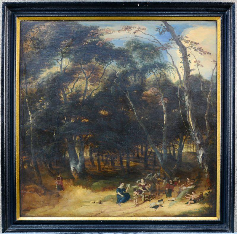"""""""Engelenconcert in het bos"""". Olieverf op paneel. Naar de XVIIde eeuw."""