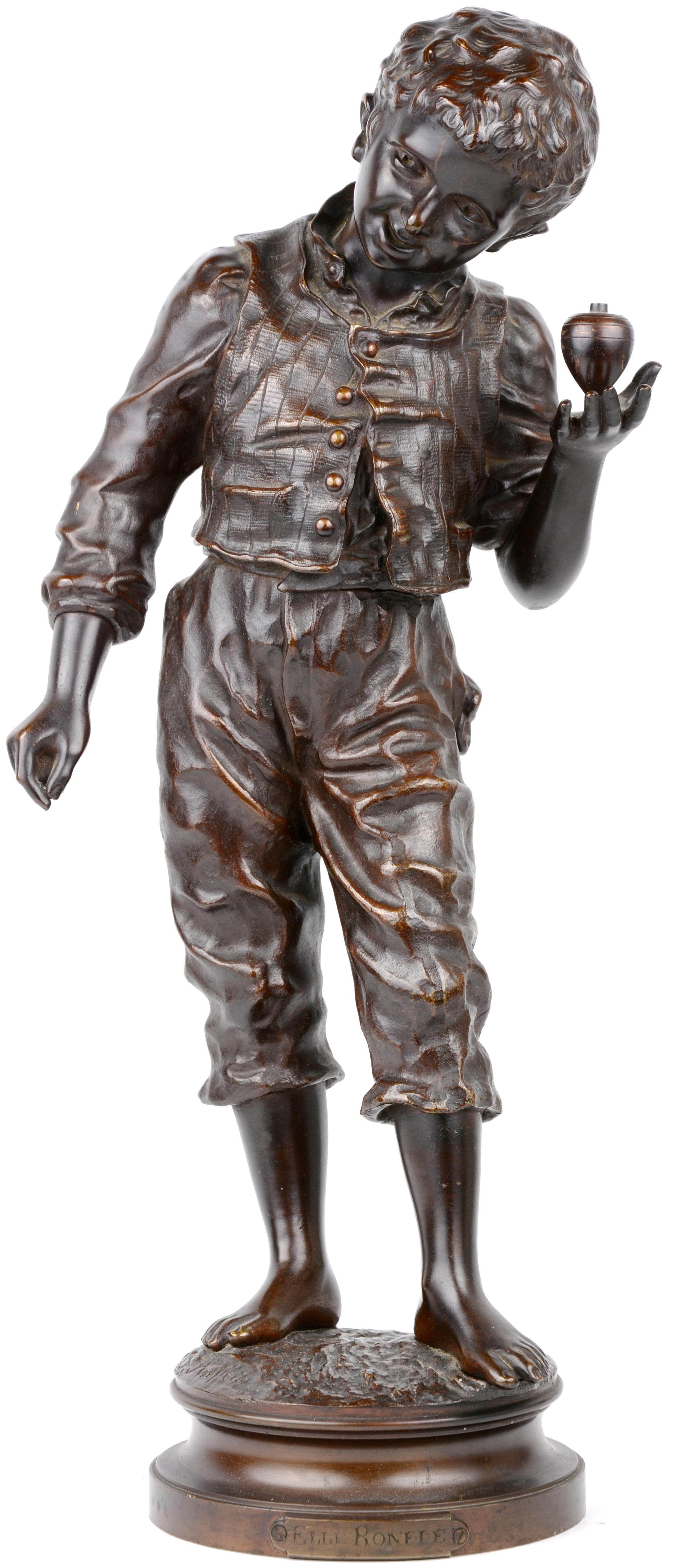 """""""Elle ronfle"""". Een beeld van bruingepatineerd brons. Gesigneerd."""