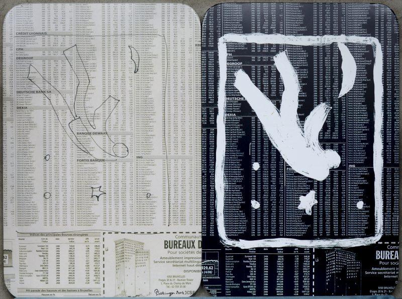 """""""Vallende figuren op een achtergrond van aandelenkoersen"""". Gedrukt op metalen platen. Draagt handtekening Solinger 2004."""
