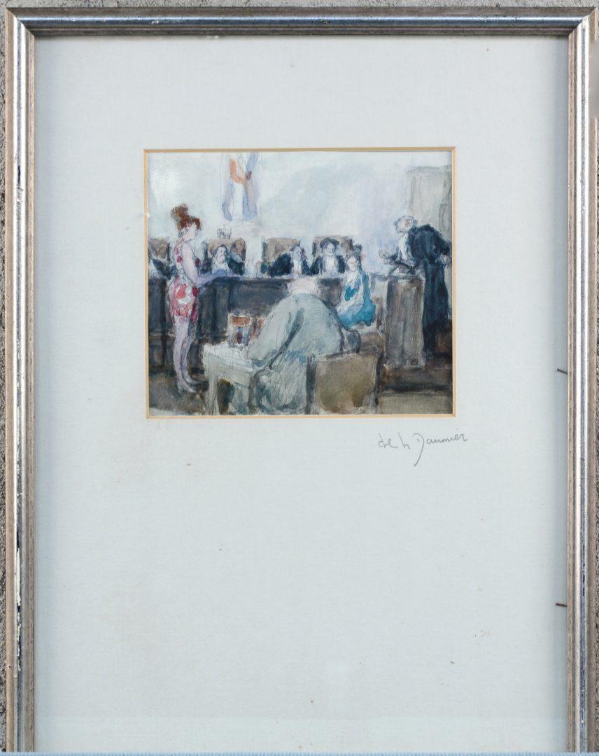"""""""De rechtszaal"""". Litho naar H. Daumier."""