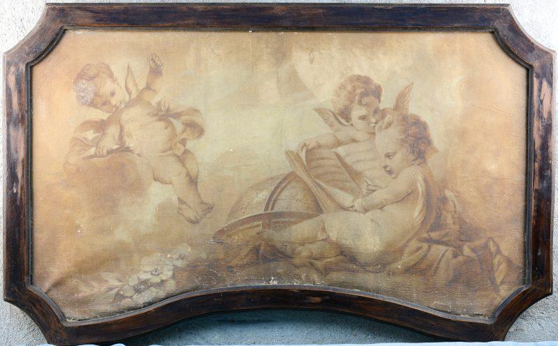 """""""Supraporta met engeltjes als alegorie op de wetenschap"""". Grisailleschildering. Eerste helft XIXde eeuw."""