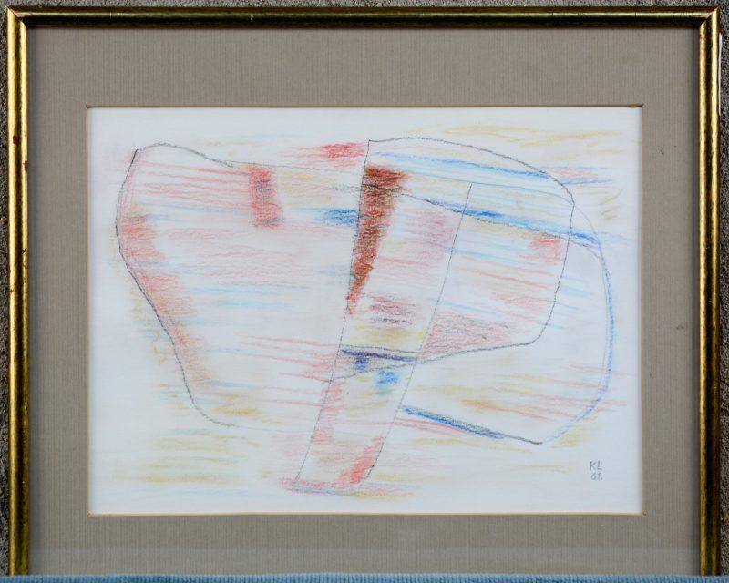 """""""Compositie"""". Kleurpotlood. Gemonogrammeerd en gedateerd 1961."""