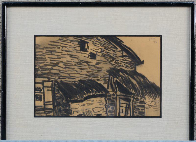 """""""Oud huizen"""". Houtskooltekening. Achteraan gecertifieerd door Emiel Jespers, zoon van de kunstenaar. Gesigneerd en gedateerd 1943."""