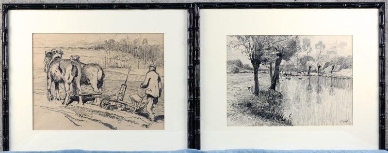 """""""De Ploeg"""" en """"Vijverzicht"""". Twee tekeningen in oost-indische inkt. Gesigneerd."""