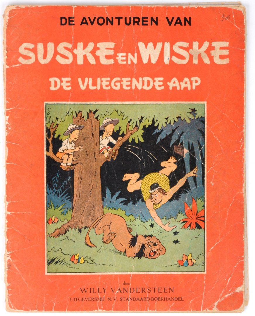 """""""Suske en Wiske: De vliegende aap"""". Eerste druk, 1948. Compleet, maar in gelezen staat en met losse kaft."""