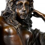 """""""Minerva"""". Een beeld van bruingepatineerd brons op arduinen voetstuk. naar een werk van F. Schmid. Berlin, 1937."""