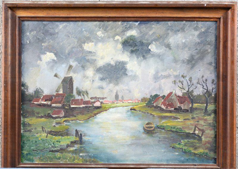"""""""Hollands kanaal"""". Olieverf op doek. Hollandse school, niet gesigneerd."""