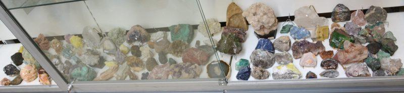 Een zeer groot en gevarieerd lot gesteenten en mineralen.