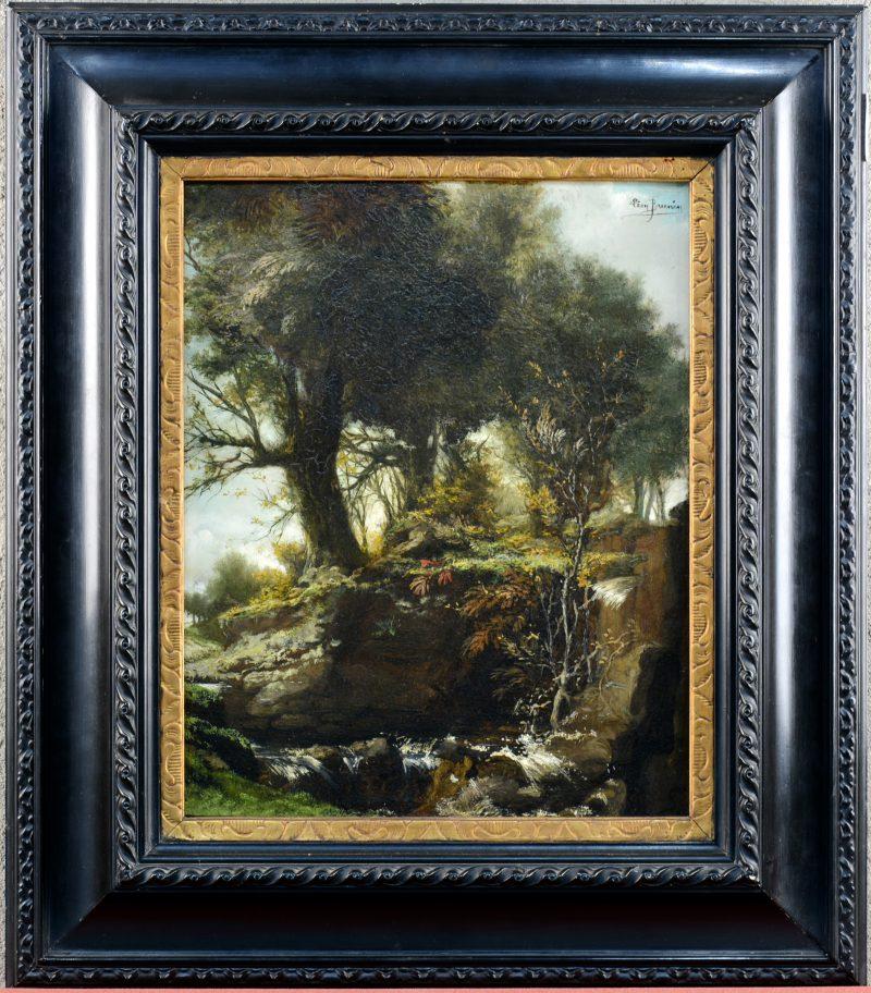 """""""La cascade"""". Olieverf op paneel. Gesigneer en op d verso eveneens gedateerd 1913."""