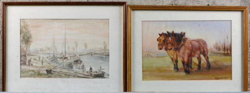 """""""Trekpaarden"""" & """"Bedrijvigheid aan de kade"""". Resp. Olieverf en aquarel op papier. Allebei gesigneerd."""