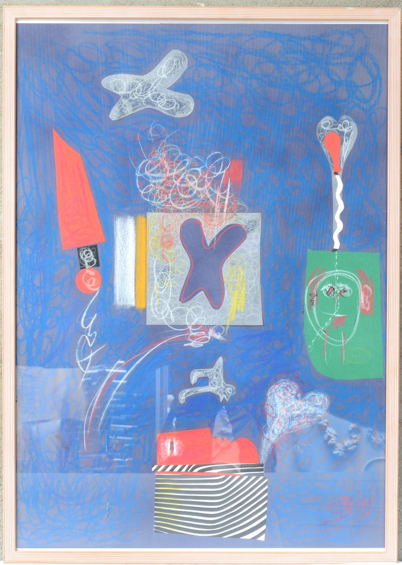 """""""Compositie met kleurkrijt en collage"""". Gemonogrammeerd CB en gedateerd 1993."""