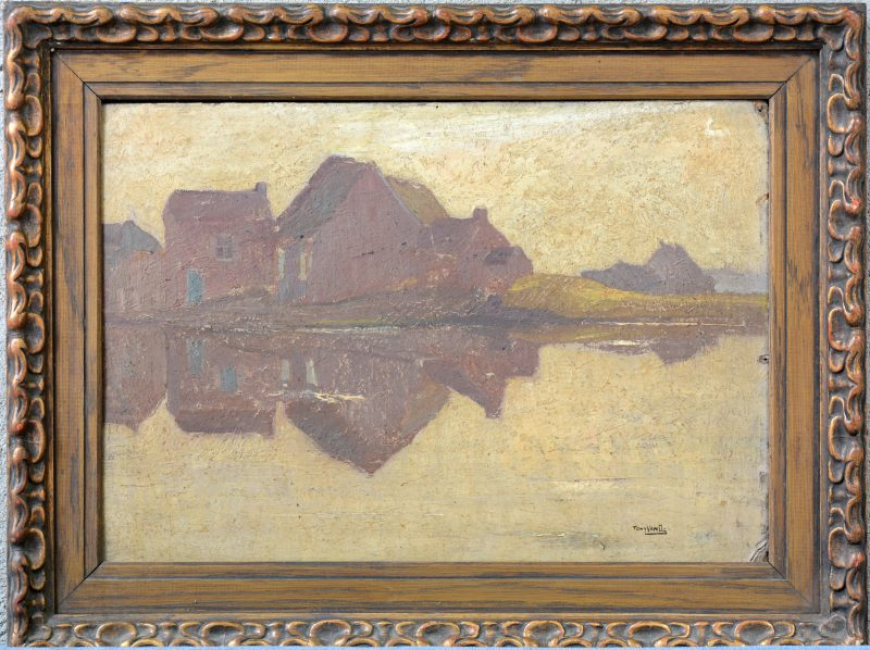 """Vlaamse huizen"". Olieverf op board. Gesigneerd en achteraan gedateerd 1919."