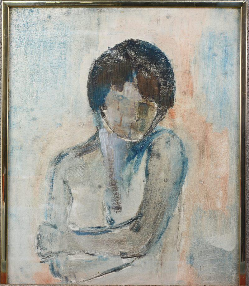 """""""Portret van de dochter van de kunstenaar"""". Gemengde techniek op papier. Gesigneerd."""