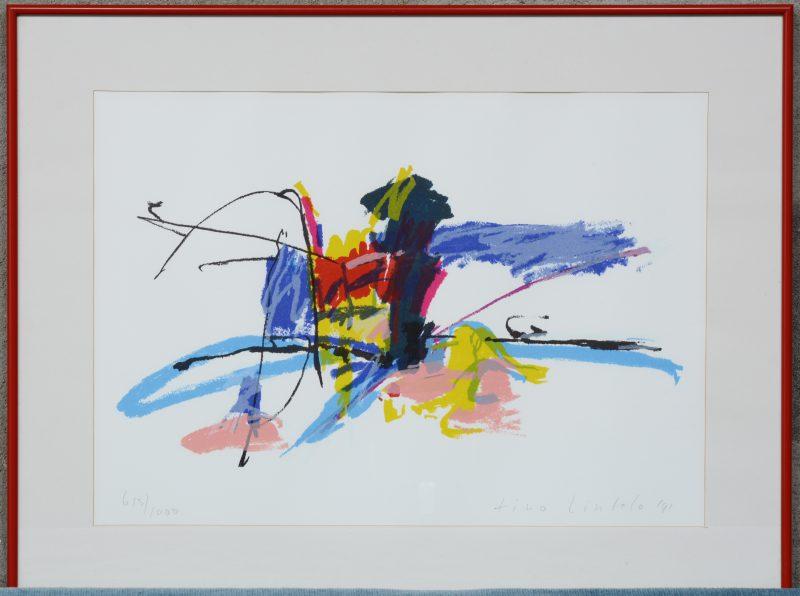 """""""Compositie"""". Een lithografie. Gesigneerd, genummerd 615/1000 en gedateerd '91."""