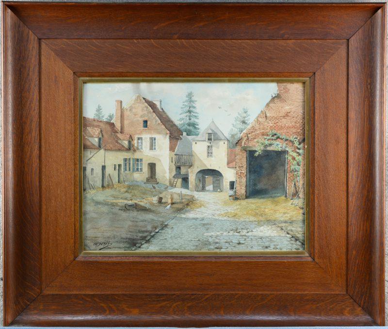 """""""Omwalde Hoeve, binnenkoer"""". Aquarel op papier. Gesigneerd en gedateerd 1913."""