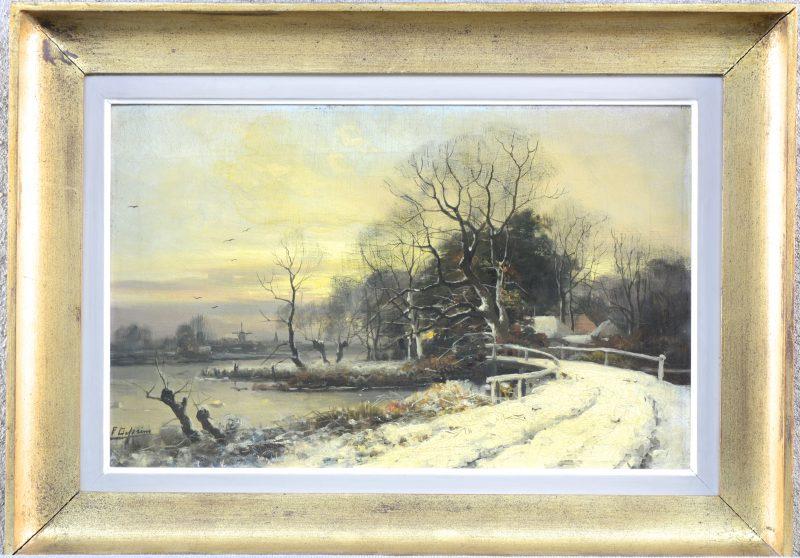 """""""Winters landschap met meer"""". Olieverf op doek. Gesigneerd."""