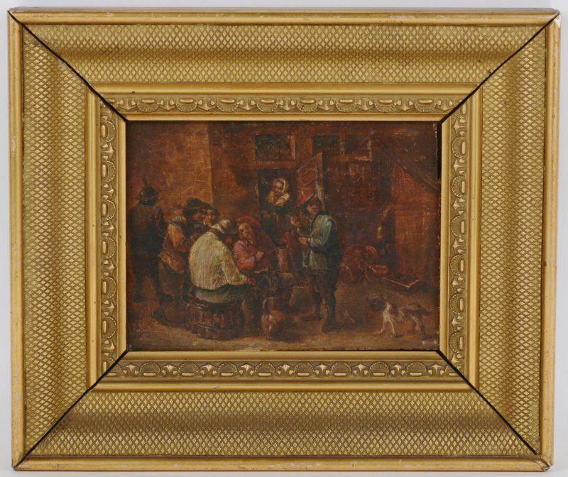 """""""Herbergscène"""". Olieverf op paneel. XIXe eeuw."""