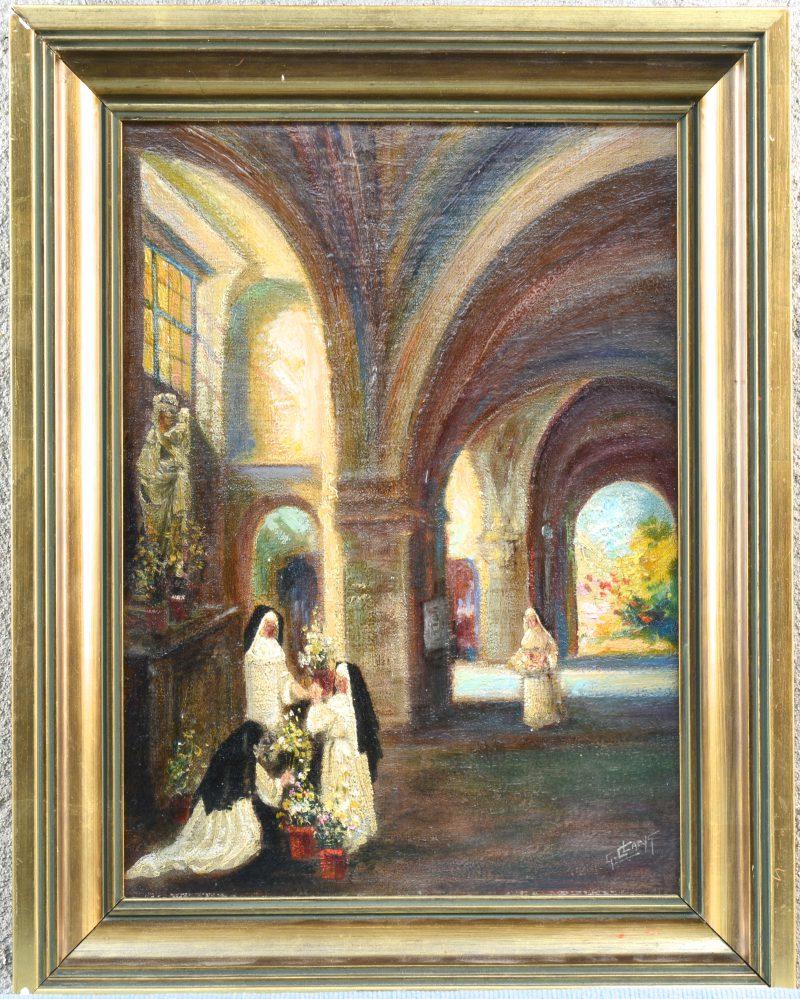"""""""Biddende nonnen in een kerkinterieur"""". Olieverf op doek. Gesigneerd."""