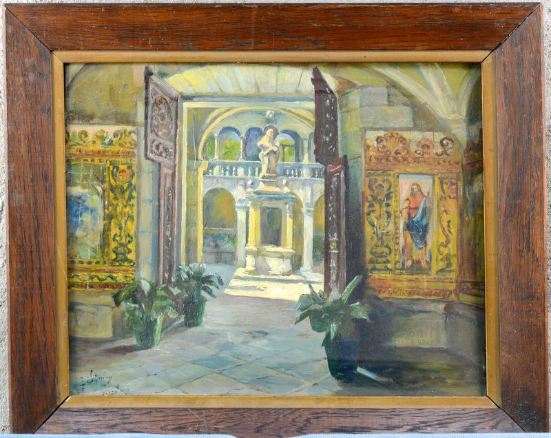 """""""Kapel van het Heilige Kruis hospitaal te Barcelona"""". Olieverf op paneel. Gesigneerd."""