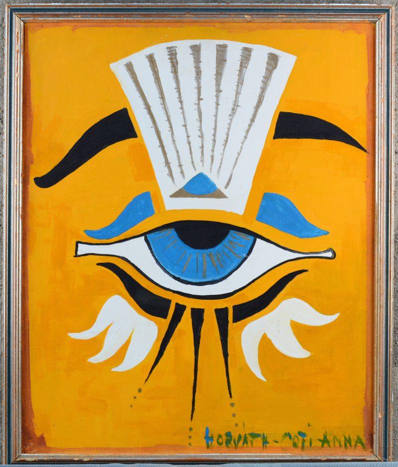 """""""Compositie in Oud-Egyptische stijl"""". Olieverf op doek. Gesigneerd."""
