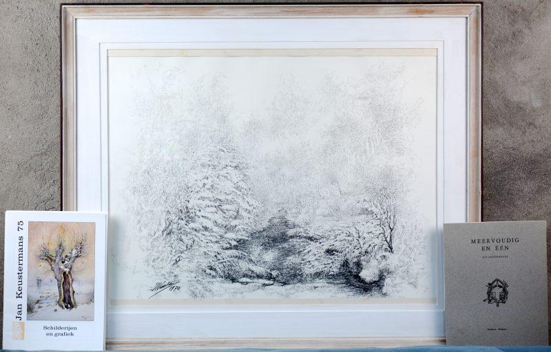 """""""Winterlandschap."""" Houtskool op papier. Gesigneerd en gedateerd 1970. We voegen twee boeken over de kunstenaar toe."""