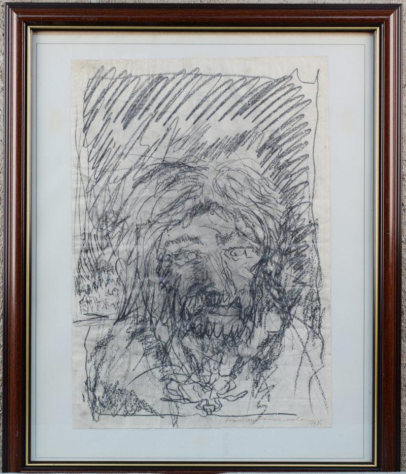 """Portret"". Houtskool op papier. Gesigneerd en gedateerd 1975."