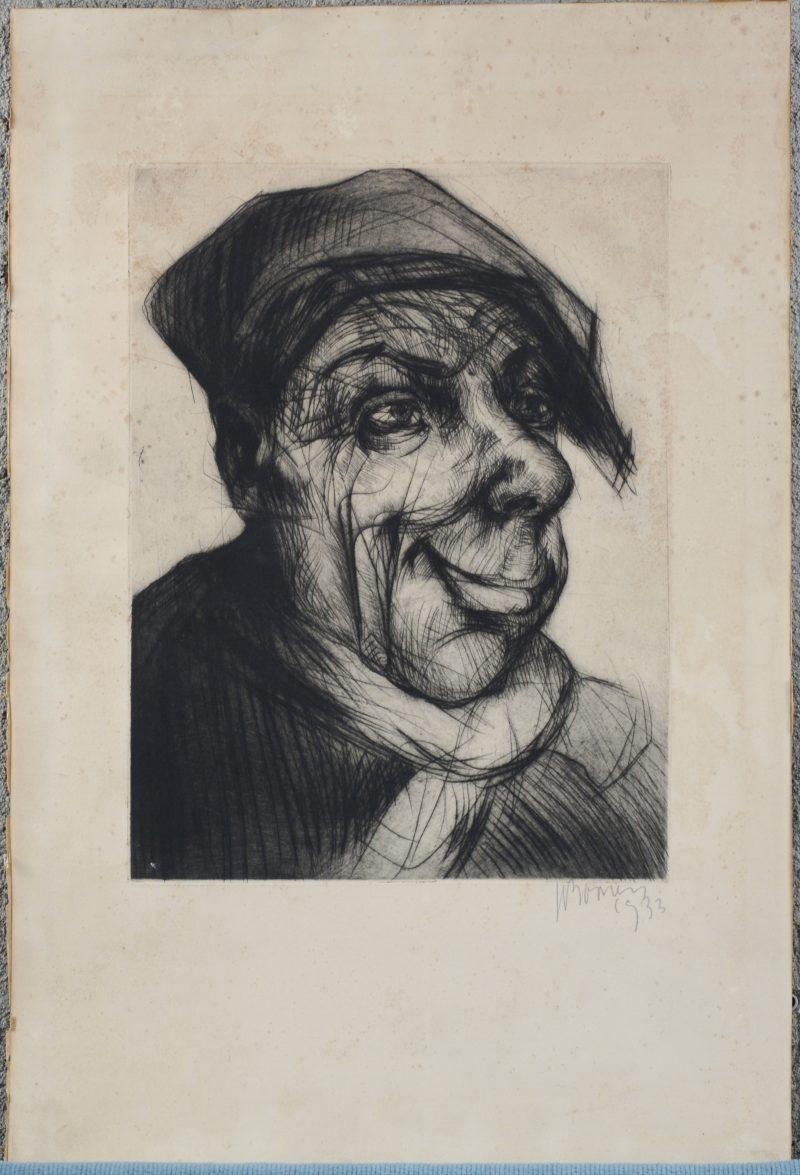 """""""Mannenportret"""". Een ets. Gesigneerd en gedateerd 1933 buiten de plaat."""