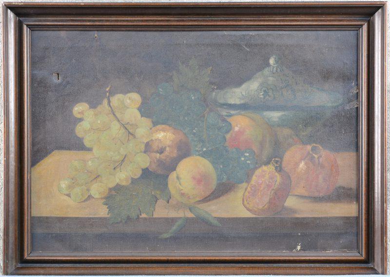"""""""Stilleven met fruit"""". Olieverf op doek. Gesigneerd en gedateerd 1888. Kleine beschadigingen."""