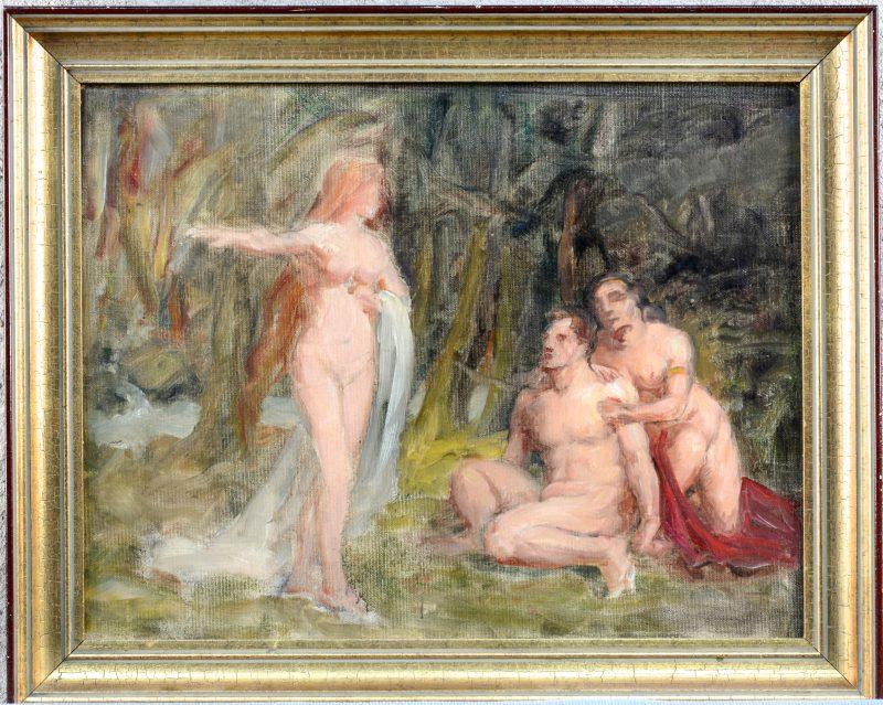 """""""Symbolistische voorstelling met drie personages"""". Olieverf op doek."""
