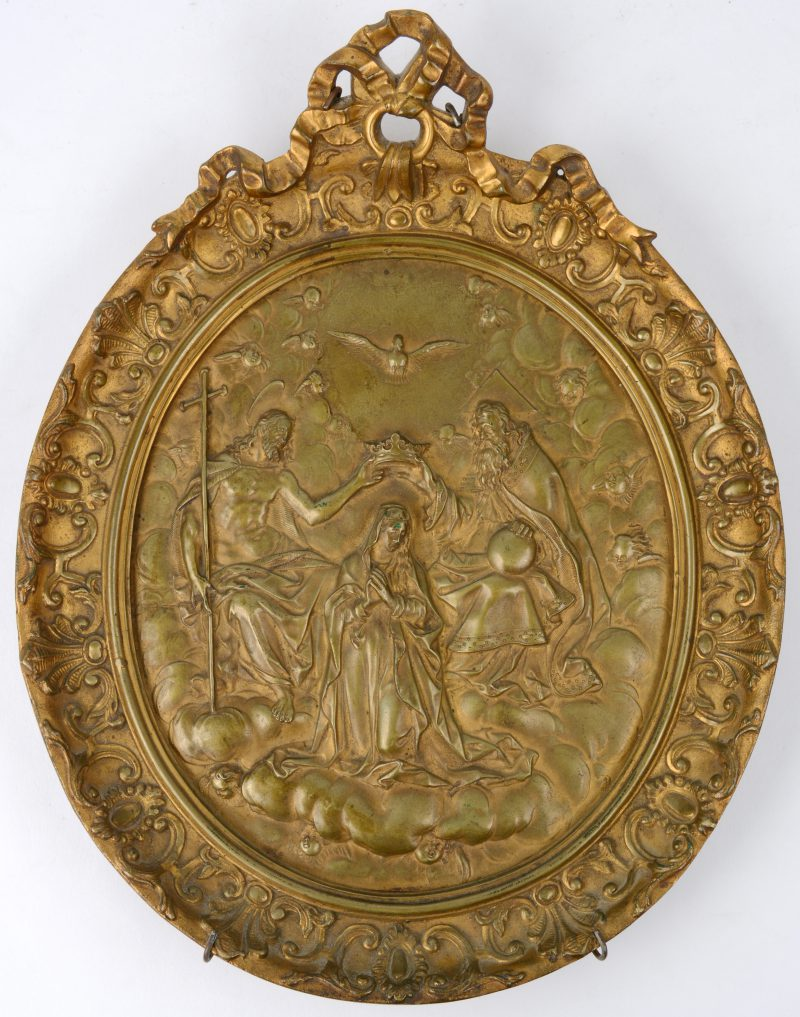 """""""De kroning van Maria"""". een bronzen bas-reliëf. XIXe eeuw."""