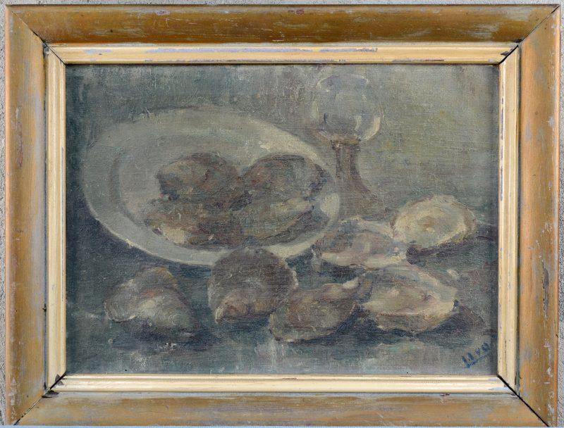 """Stilleven met oesters"". Olieverf op doek. Gemonogrammeerd."