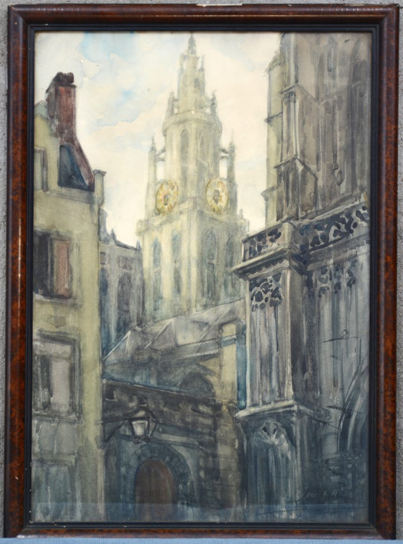 """""""Zicht op de kathedraal te Antwerpen"""". Aquarel op papier. Onleesbaar gesigneerd."""