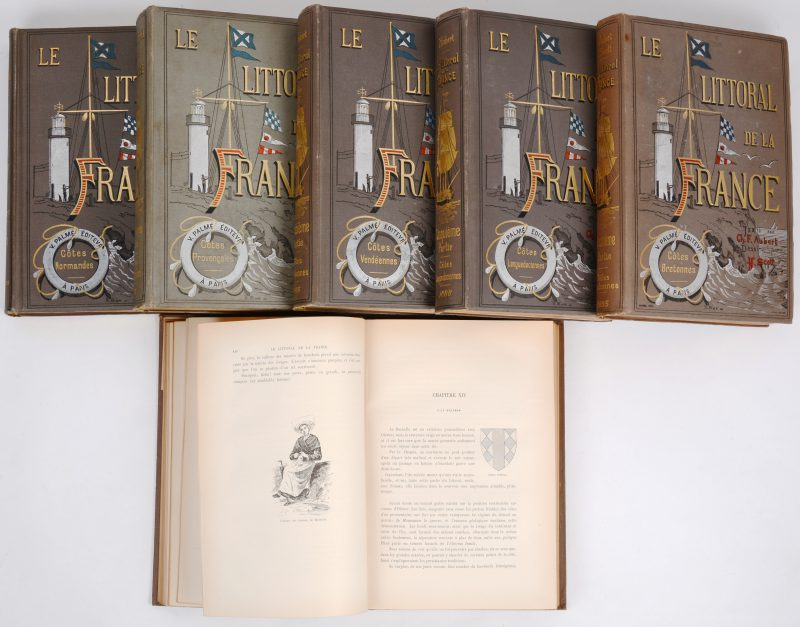 """""""Le Littoral de la France"""". Zes delen in zes volumes in-folio. Tekeningen door H. Scott. Mooi versierde band van de uitgever. Ed. Victor Palme 1889. Talrijke kaarten en illustraties."""