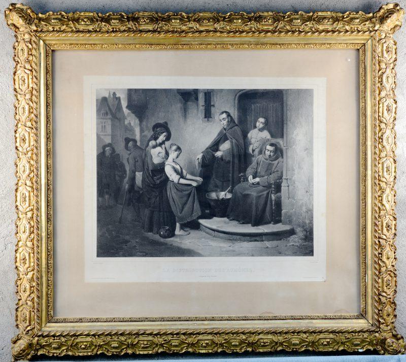 """""""La Distribution des Aumônes"""" Litho door Lafoose naar Jacquand. Parijs, XIXde eeuw."""