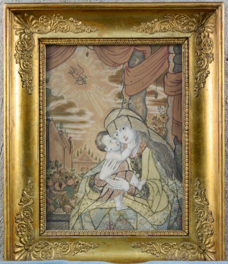 """""""Madonna en kind"""". Een XIXe eeuwse devotieprent van aquarel en diverse stoffen."""