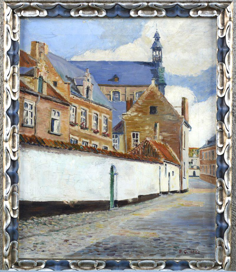 """""""Begijnhof te Lier met Sint-Margaretastraat"""". Olieverf op paneel. Gemonogrammeerd P.C. 1930."""