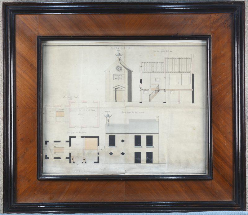 Een architecturaal plan van de kapel 'Régence de Wilrijk'. Periode Empire. In kader uit de tijd.