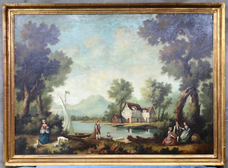 """""""Landschap naar de XVIIde eeuw"""". Olieverf op doek. Gesigneerd."""