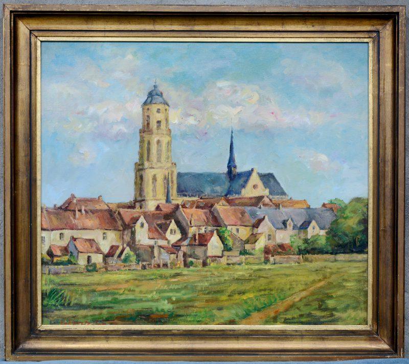 """""""Zicht op de St. Gummaruskerk te Lier"""". Olieverf op doek. Gesigneerd."""
