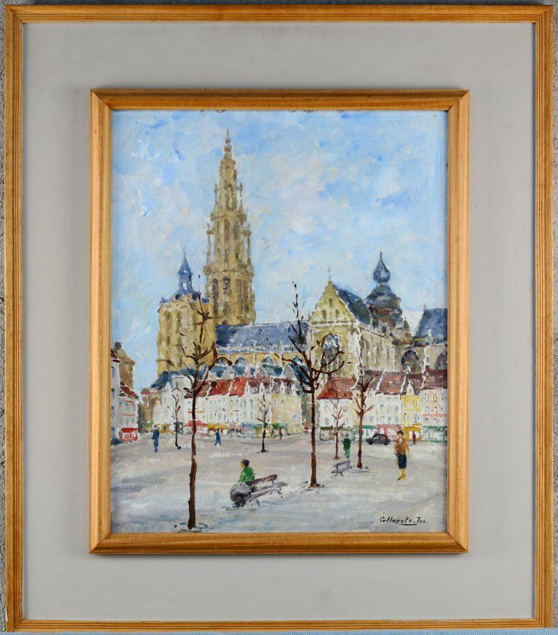 """""""Zicht op de Groenplaats te Antwerpen"""". Olieverf op paneel. Gesigneerd."""